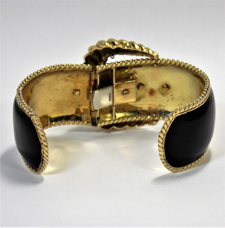 David Webb Black Enamel Gold Buckle Bangle 7