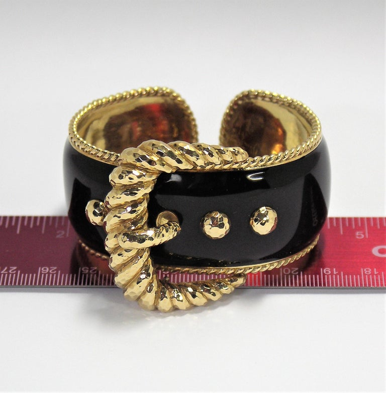 David Webb Black Enamel Gold Buckle Bangle 9