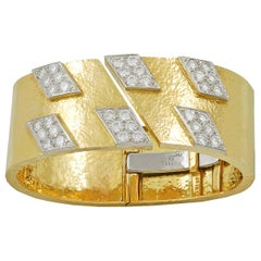 David Webb Diamond Yellow Gold Platinum Spring Cuff Bracelet