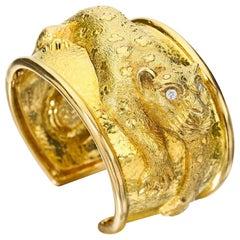 David Webb Gold and Diamond Leopard Cuff