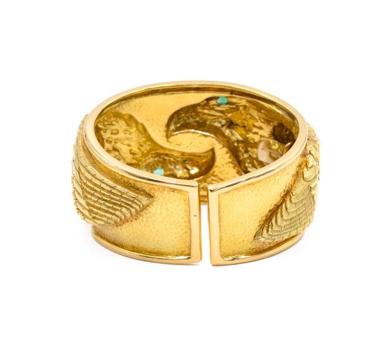 Artist David Webb Gold and Emerald Eagle Cuff Bracelet For Sale