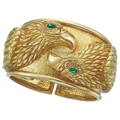 David Webb Gold and Emerald Eagle Cuff Bracelet
