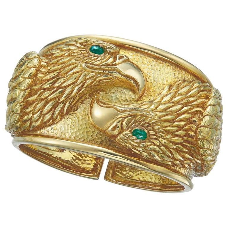 David Webb Gold and Emerald Eagle Cuff Bracelet For Sale
