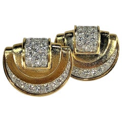 David Webb Gold and Platinum Diamond Earrings