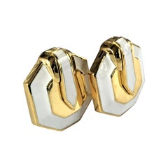 David Webb Gold and White Enamel Earrings