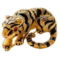 David Webb Gold Black Enamel and Ruby Baby Tiger Brooch