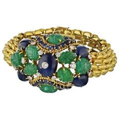David Webb Gold Cabochon Sapphires and Carved Emeralds Bracelet