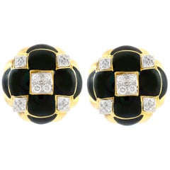 David Webb Gold Clip-On Earrings with Diamonds