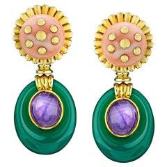 David Webb Gold Coral Amethyst Chalcedony Clip-On Earrings
