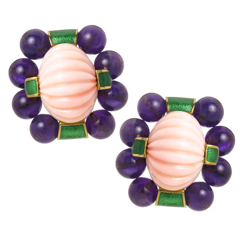 David Webb Gold Coral and Amethyst Large Impressive Earrings For Sale