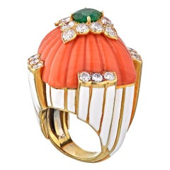 David Webb Gold Coral White Enamel Emerald Diamond circa 1970s Ring