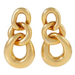 David Webb Gold Curb Link Door Knocker Earrings