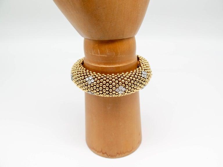 Round Cut David Webb Gold Diamond Bracelet For Sale
