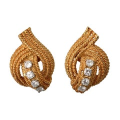 David Webb Gold Diamond Earrings