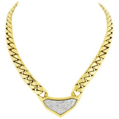 David Webb Gold, Diamond Link Chunky Chain Necklace