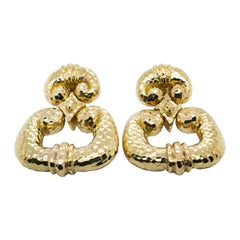 David Webb Gold Door Knocker Earrings