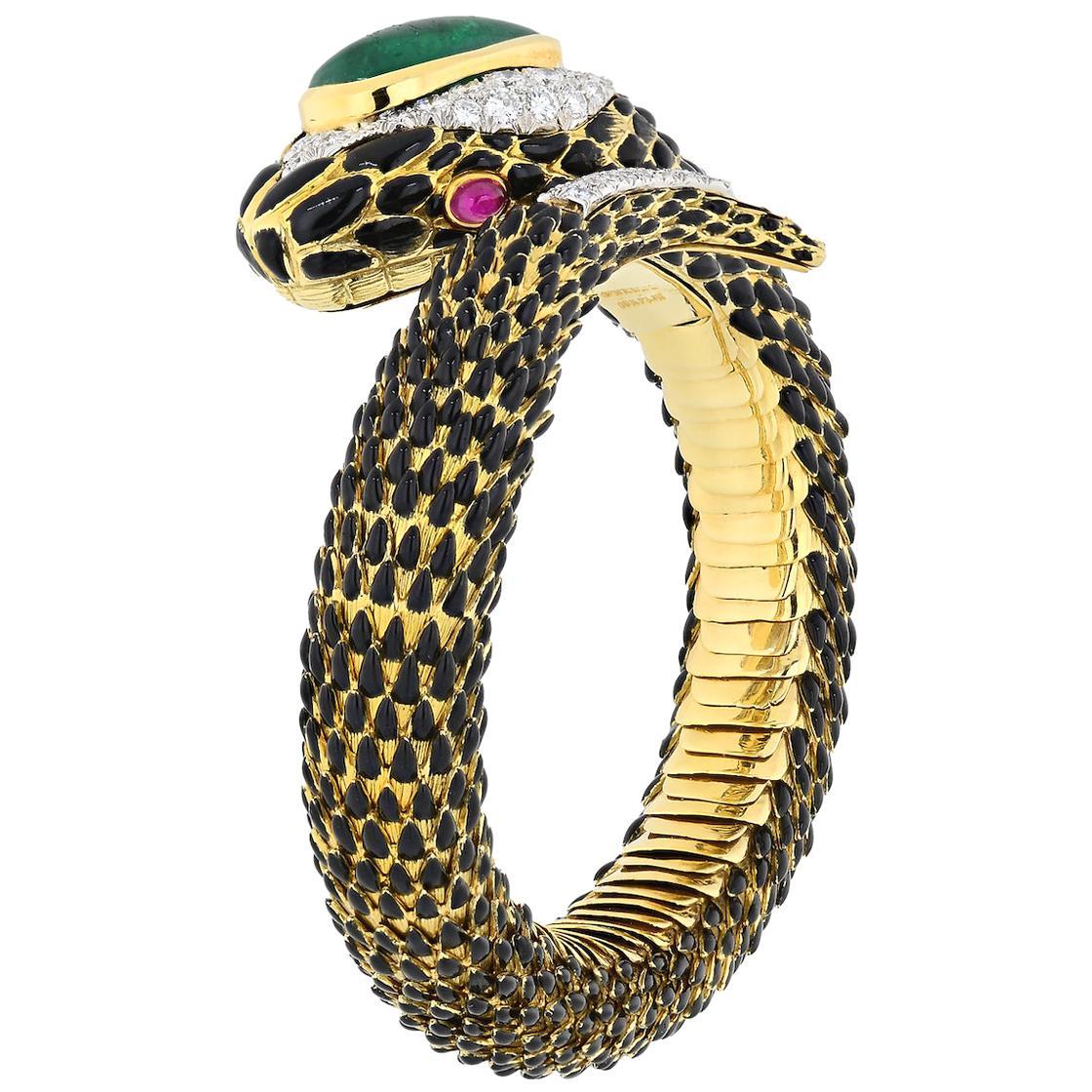 David Webb Gold, Emerald, Ruby and Diamond Snake Charmer Bracelet