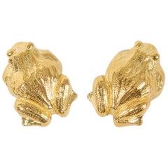 David Webb Gold Frog Earrings