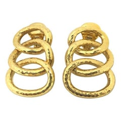 David Webb Gold Hammered Triple Hoop Clip-On Earrings