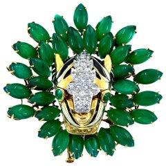 David Webb Gold Kingdom Diamond Tiger Chrysoprase Brooch