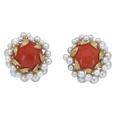 David Webb Gold, Pearl and Coral Ear Clips