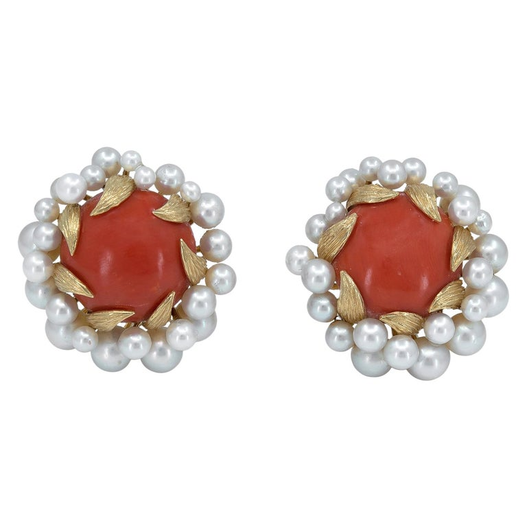 David Webb Gold, Pearl and Coral Ear Clips For Sale