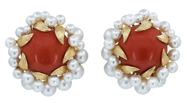 David Webb Gold, Pearl and Coral Ear Clips In Excellent Condition For Sale In New York, NY