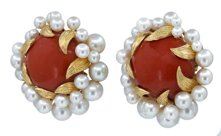 Women's David Webb Gold, Pearl and Coral Ear Clips For Sale
