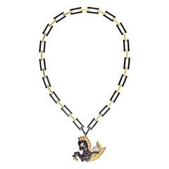 David Webb Gold Pegasus Black Enamel Ruby Eyes Diamond Pin Pendant Necklace