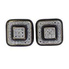 David Webb Gold Platinum Diamond Enamel Earrings
