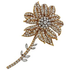 David Webb Gold Platinum Diamond Flower Brooch
