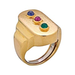 David Webb Gold Ruby Emerald Sapphire Cabochon Ring
