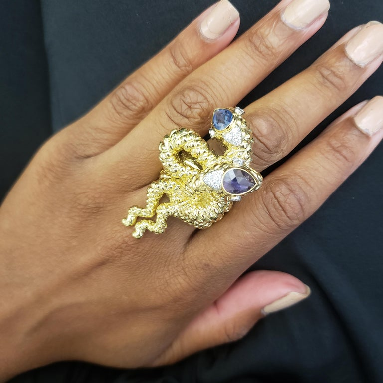 David Webb Gold Sapphire and Diamond Double Serpent Ring For Sale 5