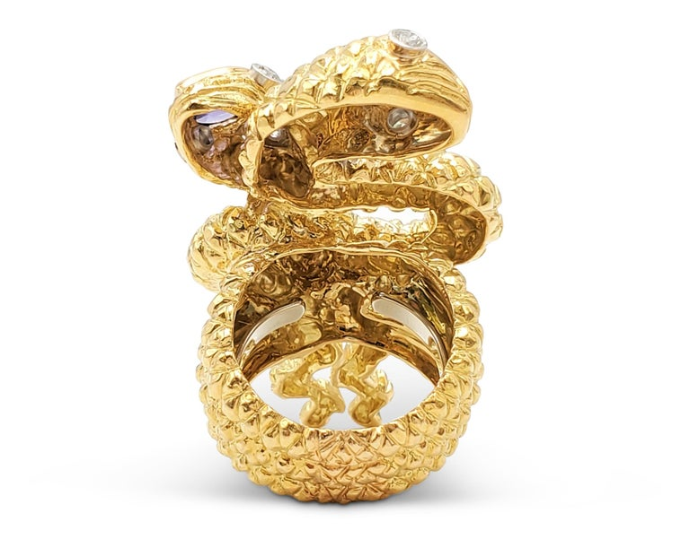 Pear Cut David Webb Gold Sapphire and Diamond Double Serpent Ring For Sale