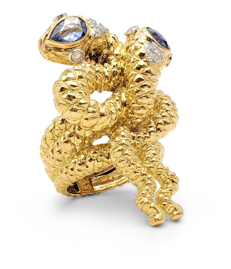 Women's David Webb Gold Sapphire and Diamond Double Serpent Ring For Sale