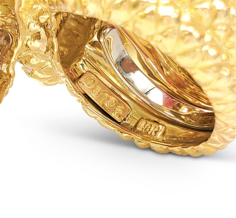 David Webb Gold Sapphire and Diamond Double Serpent Ring For Sale 2