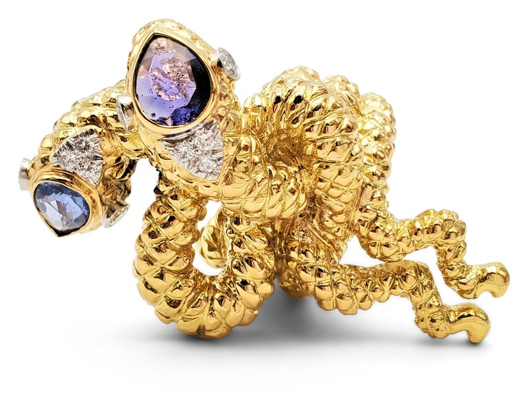 David Webb Gold Sapphire and Diamond Double Serpent Ring For Sale 3