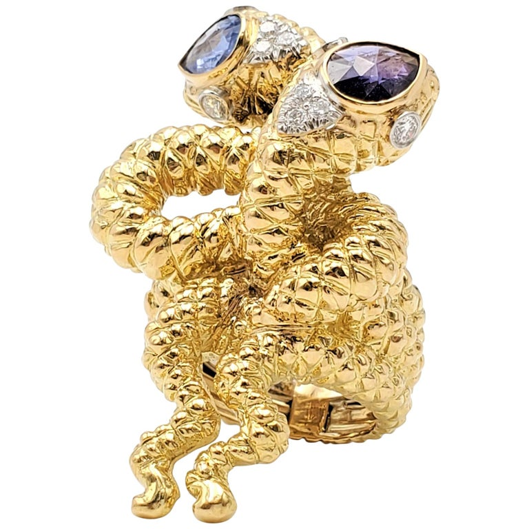 David Webb Gold Sapphire and Diamond Double Serpent Ring For Sale