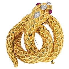 David Webb Gold Serpent with Diamonds and Rubies Brooch