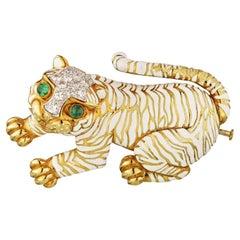 David Webb Gold Tiger Emerald Diamond and White Enamel Brooch Pin