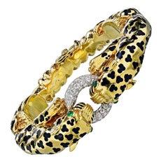David Webb Gold Vintage 18k Yellow Leopard Double Head Pave Diamond Bracelet