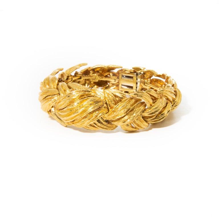 18k gold David Webb textured finish bracelet with watch (case is 14k gold). Bracelet is 6.5