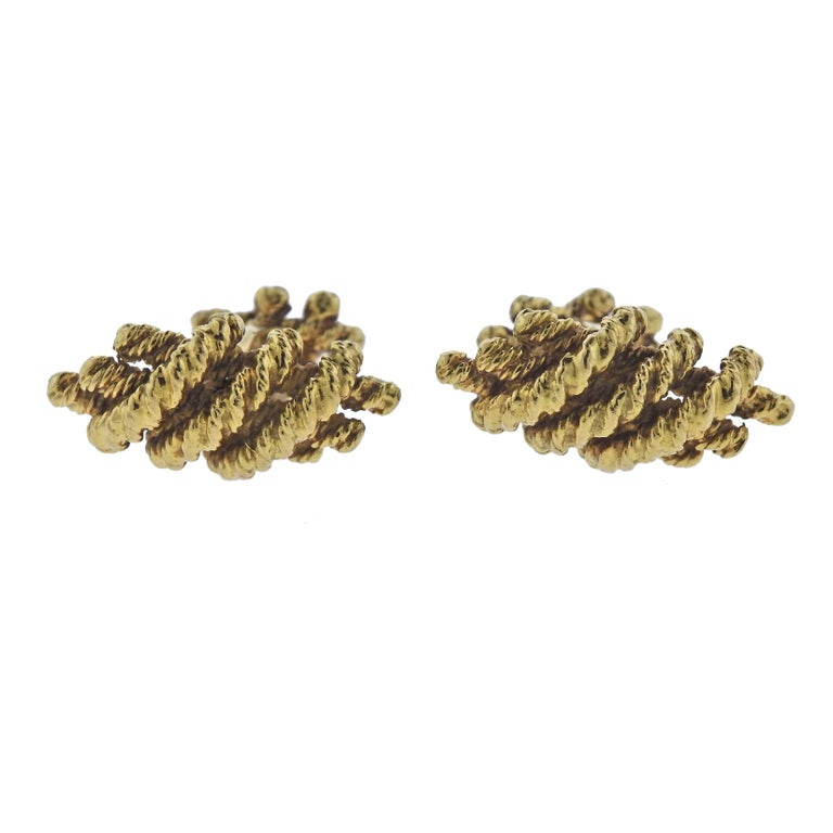 David Webb Gold Woven Cufflinks