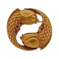 David Webb Gold Zodiac Pisces Fish Pendant Brooch