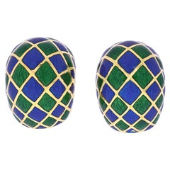 David Webb Green and Blue Checkerboard Enamel Clip-On Earrings