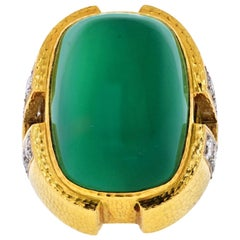 David Webb Green Cabochon Onyx, Diamond Ring