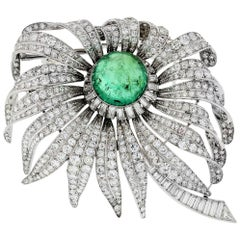 David Webb Green Emerald and 30.00 Carat Diamond Flower Platinum Brooch