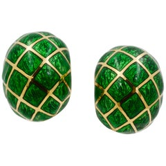 David Webb Green Enamel 18 Karat Yellow Gold Dome Earrings