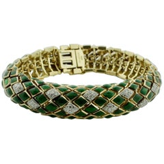 David Webb Green Enamel and Diamond Bracelet in 18 Karat and Platinum