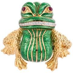 David Webb Green Enamel Bull frog Brooch with Diamonds & Rubies in 18KY Gold